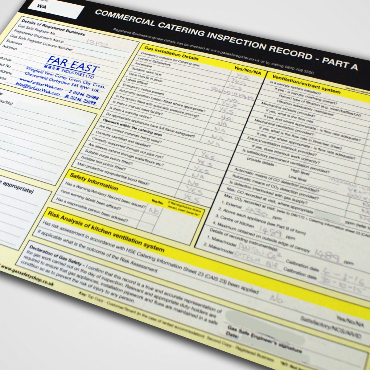 Gas Safety Check Certificate