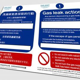 Gas Safe Check Leak Action sign