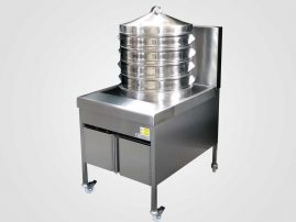 Dim sum steamer showing 4 round trays and lid
