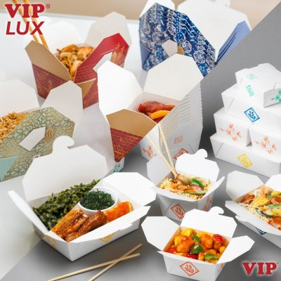 VIP + Lux card takeaway food container box