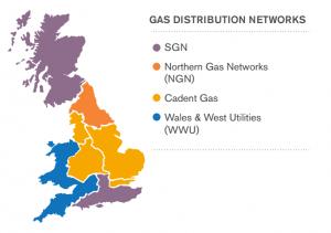 Gas Distribution Network Operator (DNO) map